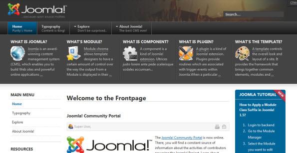 gratis template voor Joomla 1.6: Joomlart purity II
