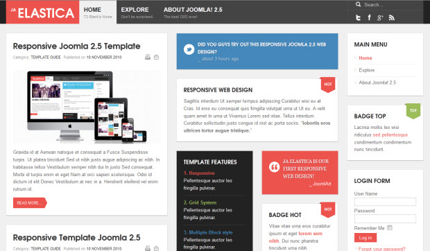 Responsive Joomla theme Elastica