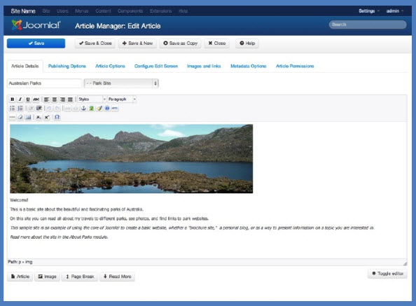 Joomla 30 article editor