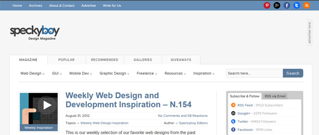Webdesign blog Speckyboy