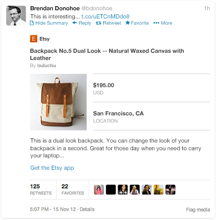 Twitter Product Card